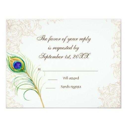 RSVP Response Cards - Vintage Peacock & Etchings Custom Invitation