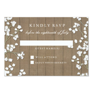 RSVP Response Country Baby's Breath Floral Wreath Card