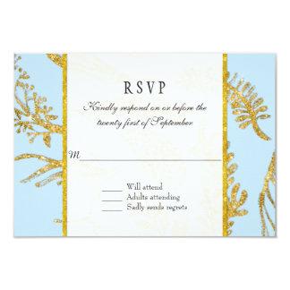 RSVP Response Modern Hand Drawn Leaf Leaves Gold 3.5x5 Paper Invitation Card