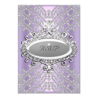 RSVP Response Party Lilac Purple White Diamond Custom Announcement