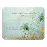 RSVP Response Peacock Feather Gold Elegant Wedding Card