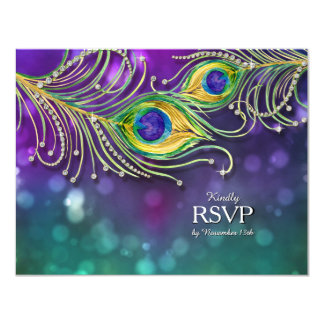 RSVP Response Peacock Feather Wedding Jeweled Card