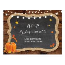 RSVP Response Pumpkin Fall Wedding Postcard
