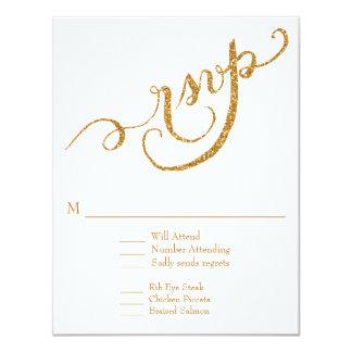 RSVP Response Script Forever in Love Gold Glitter Card