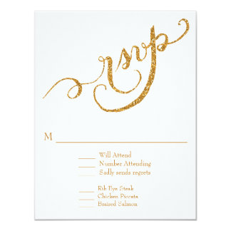 RSVP Response Script Forever in Love Gold Glitter Personalized Invites