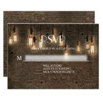 RSVP Response Urban Industrial Edison Lights Brick Card