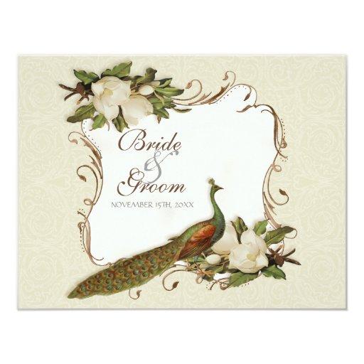 RSVP Response - Vintage Peacock & Magnolia Swirls Card