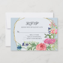 RSVP Response Watercolor Pink Floral Dusty Blue
