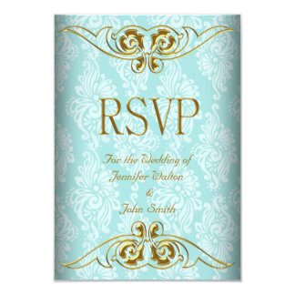RSVP Response Wedding Teal Blue Gold Damask Invitation