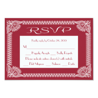 RSVP Retro Red Burgundy And White Floral Response Card