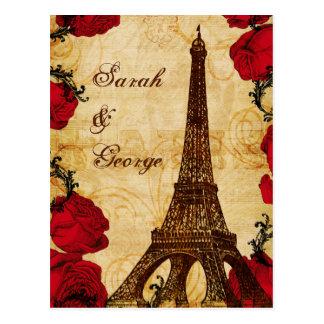 rsvp rojo del boda de París de la torre Eiffel del Tarjeta Postal