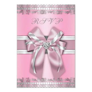 """RSVP rosado y de plata con clase Invitación 3.5"""" X 5"""""""