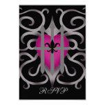 RSVP rosado y gris del corazón capturado gótico Invitación 8,9 X 12,7 Cm