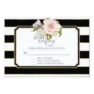 RSVP Rose Floral Modern Elegant Black White Stripe Card