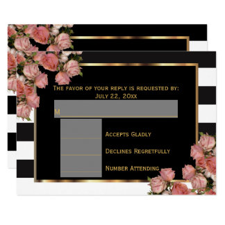 RSVP Rose Gold Wedding Black & White Stripe Card