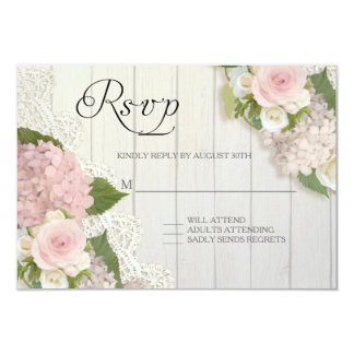 RSVP Roses Pink Hydrangea Lace Wooden Floral Card