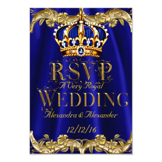 RSVP Royal Blue Navy Wedding Gold Crown Card