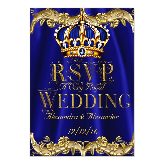 royal blue and gold wedding invitations announcements zazzle - Blue And Gold Wedding Invitations
