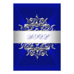 RSVP Royal Blue On Silver Birthday Party Personalized Announcement