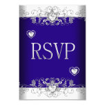 RSVP Royal blue Wedding White Diamond Hearts 2 3.5x5 Paper Invitation Card