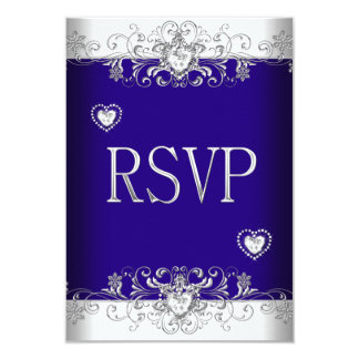 RSVP Royal blue Wedding White Diamond Hearts 2 Custom Announcements