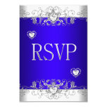 RSVP Royal blue Wedding White Diamond Hearts 3.5x5 Paper Invitation Card