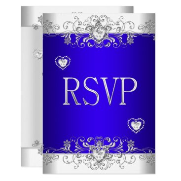 Valentines Themed RSVP Royal blue Wedding White Diamond Hearts Card