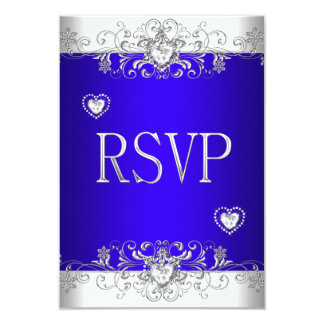 RSVP Royal blue Wedding White Diamond Hearts Custom Invitation