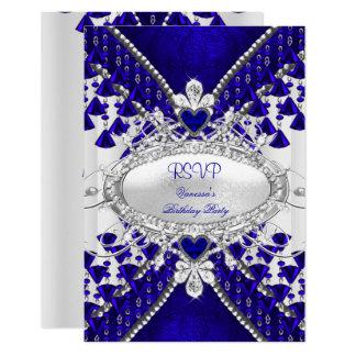 RSVP Royal Blue White Heart Diamond Card