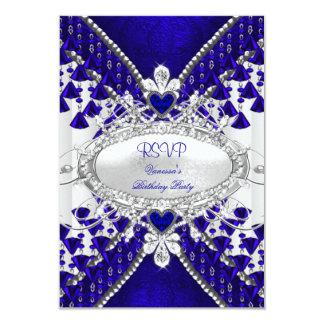 RSVP Royal Blue White Heart Diamond Invitation