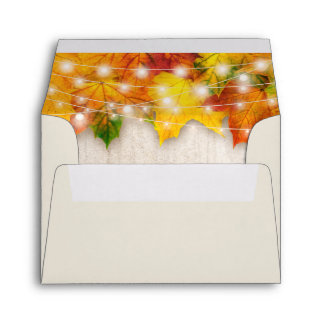 RSVP - Rustic Autumn Maple Leaves String Lights Envelope