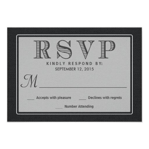 RSVP Rustic Black Burlap Wedding Reply Invitation