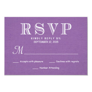 "RSVP Rustic Burlap Orchid Wedding Reply 3.5"" X 5"" Invitation Card"