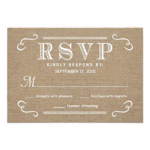 RSVP Rustic Burlap Tan and White Wedding Reply Custom Invites