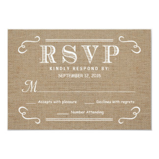 RSVP Rustic Burlap Tan and White Wedding Reply 3.5x5 Paper Invitation Card