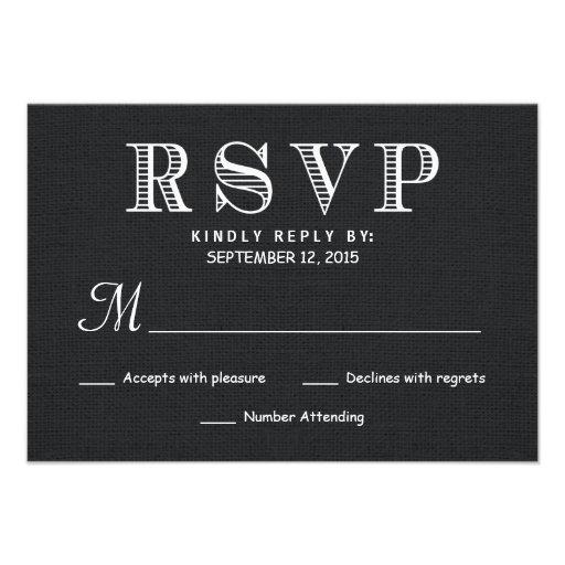 RSVP Rustic Burlap Wedding Reply - Black Announcements