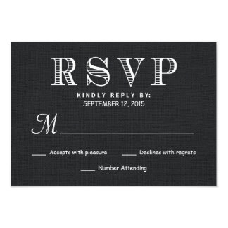 "RSVP Rustic Burlap Wedding Reply - Black 3.5"" X 5"" Invitation Card"
