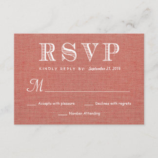 RSVP Rustic Burlap Wedding Reply - Coral Apricot