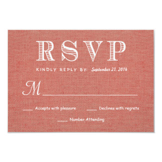 RSVP Rustic Burlap Wedding Reply - Coral Apricot 3.5x5 Paper Invitation Card