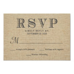 RSVP Rustic Country Burlap Wedding Reply Cards Personalized Invitation