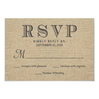 RSVP Rustic Country Burlap Wedding Reply Cards