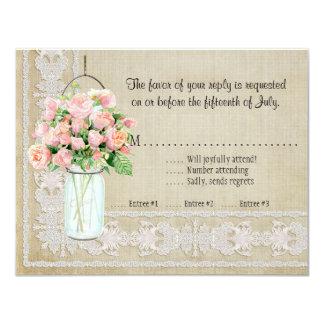 RSVP Rustic Country Mason Jar Blush Pink Roses Card