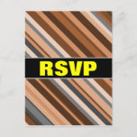 [ Thumbnail: RSVP; Rustic, Earthy Brown, Beige and Grey Stripes Postcard ]