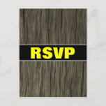 "[ Thumbnail: ""RSVP"" + Rustic Faux Wood Look Pattern Postcard ]"