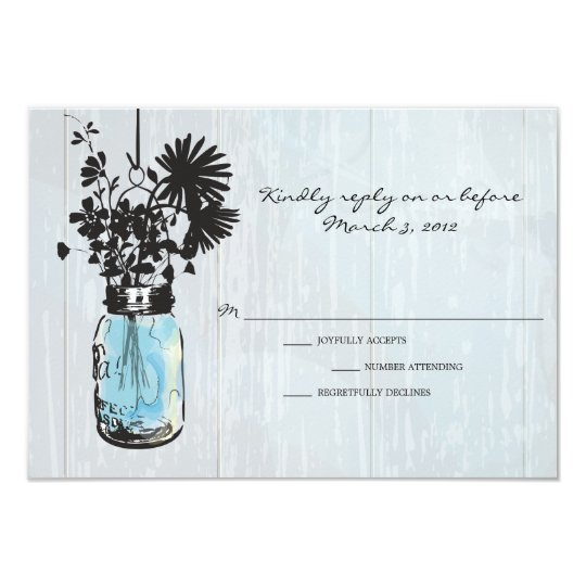 RSVP Rustic Hanging Mason Jar Wedding Card