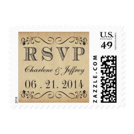 RSVP Rustic Parchment Wedding Postage