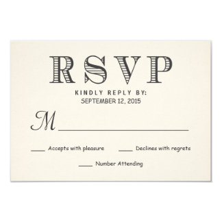 RSVP Rustic Typography Ivory White Wedding Reply 3.5x5 Paper Invitation Card