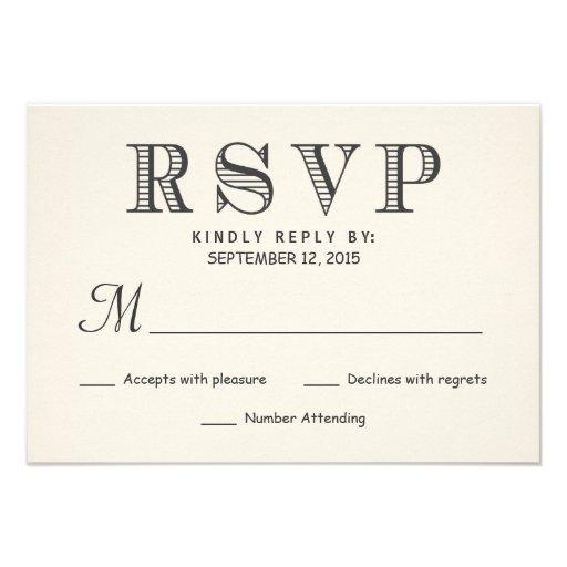 RSVP Rustic Typography Ivory White Wedding Reply Invites