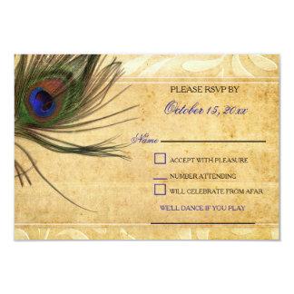 """Rsvp rústico 3,5 x5 del boda de la pluma del pavo invitación 3.5"""" x 5"""""""