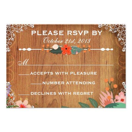 Rsvp rústico del boda de los Succulents florales Comunicado Personalizado